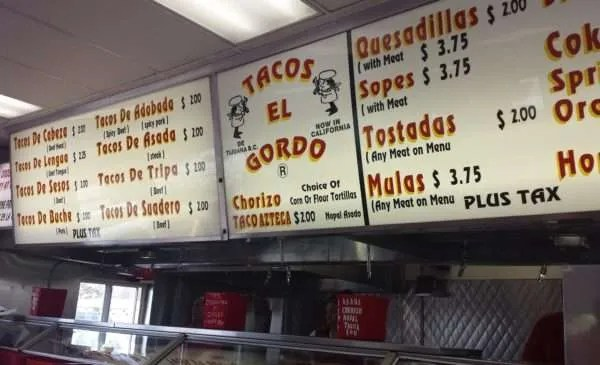 Tacos El Gordo Menu