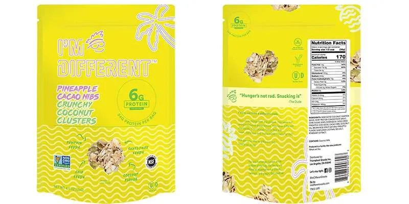 I'm Different Pineapple Cacao Nibs Crunchy Coconut Clusters Package Front and Back
