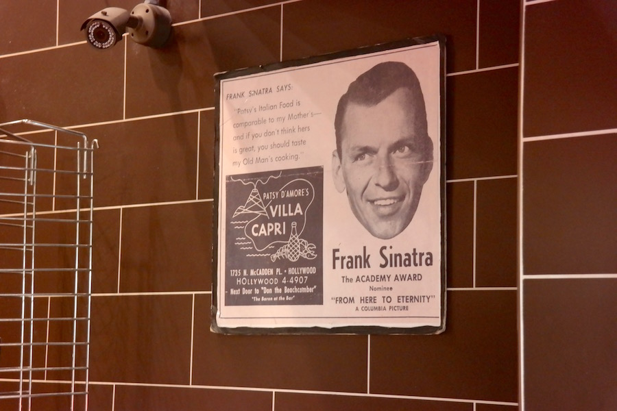 A vintage Villa Capri ad congratulating Frank on his Oscar nomination