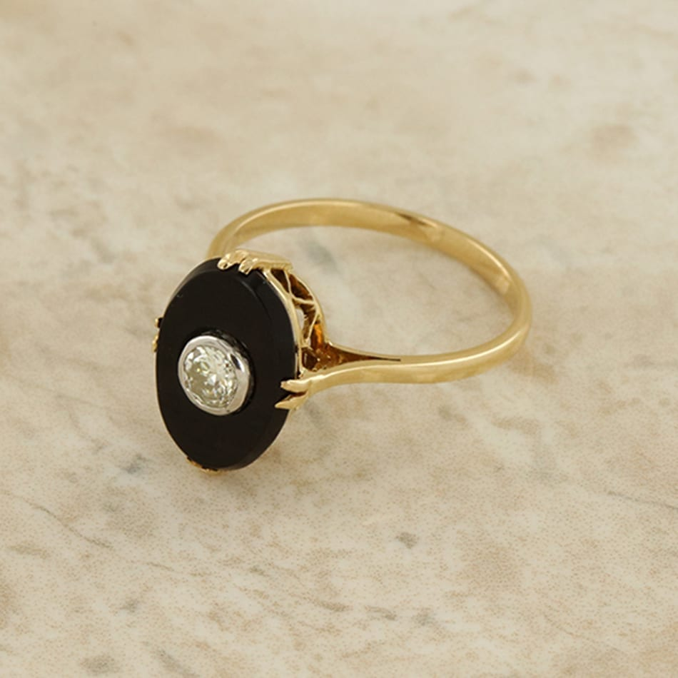 Black Onyx And Diamond Ring The Vintage Jeweller