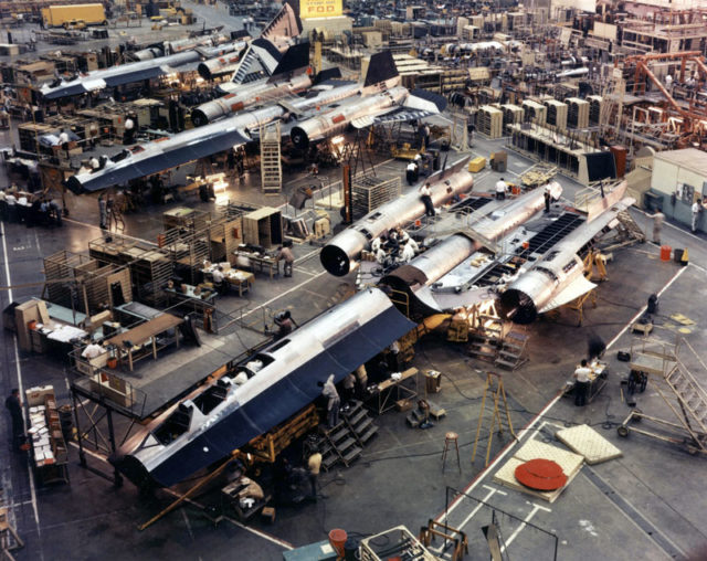 SR-71 Blackbird assembly line at Skunk Works Source