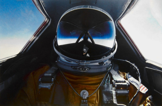 SR-71 pilot in full flight suit Source