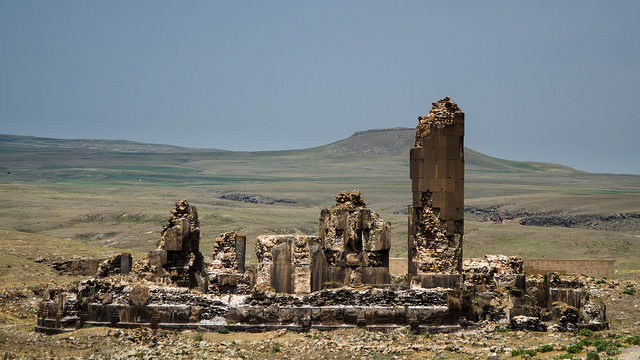 The meager remains of King Gagik's church of St Gregory, a structure built between 1001 and 1005. Source