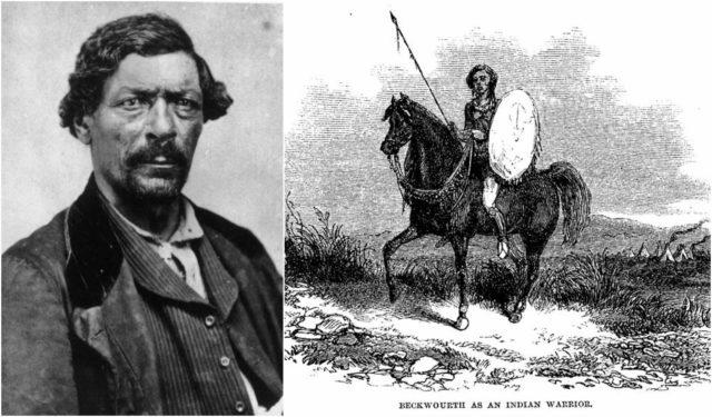 Left photo - James P. Beckwourth, circa 1860, in Denver, Kansas Territory. Wikipedia/Public Domain, Right photo - Beckwourth as Indian warrior, 1856. Wikipedia/Public Domain