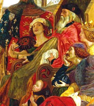 Detail of Ford Madox Brown's painting of Chaucer reading to the court of King Edward III, depicting Alice Perrers and Edward III in something of a royal cuddle.