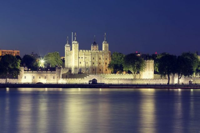 The peaceful looking Tower of London
