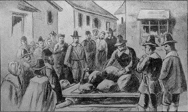 Old drawing of the death of Giles Corey (September 19, 1692).