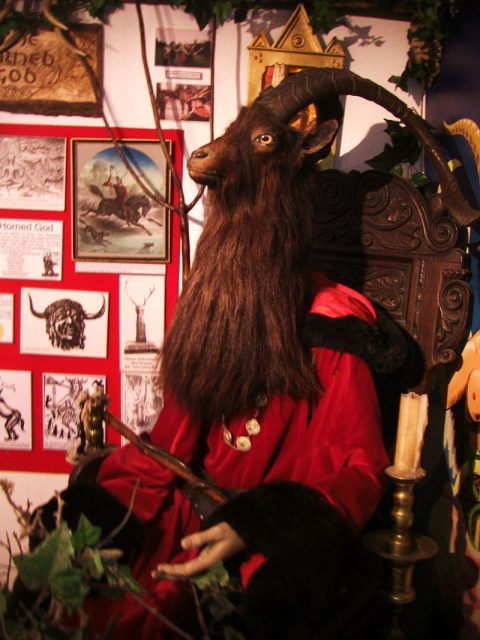 A sculpture of the Horned God of Wicca at the Museum of Witchcraft and Magic in Boscastle, England. Photo by Midnightblueowl CC BY-SA 3.0