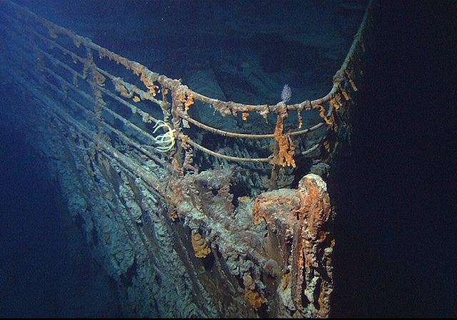 View of the bow of the RMS Titanic photographed in June 2004.