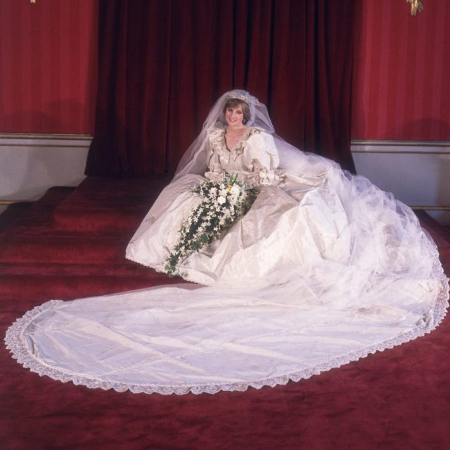 Formal portrait of Lady Diana Spencer in her wedding dress.