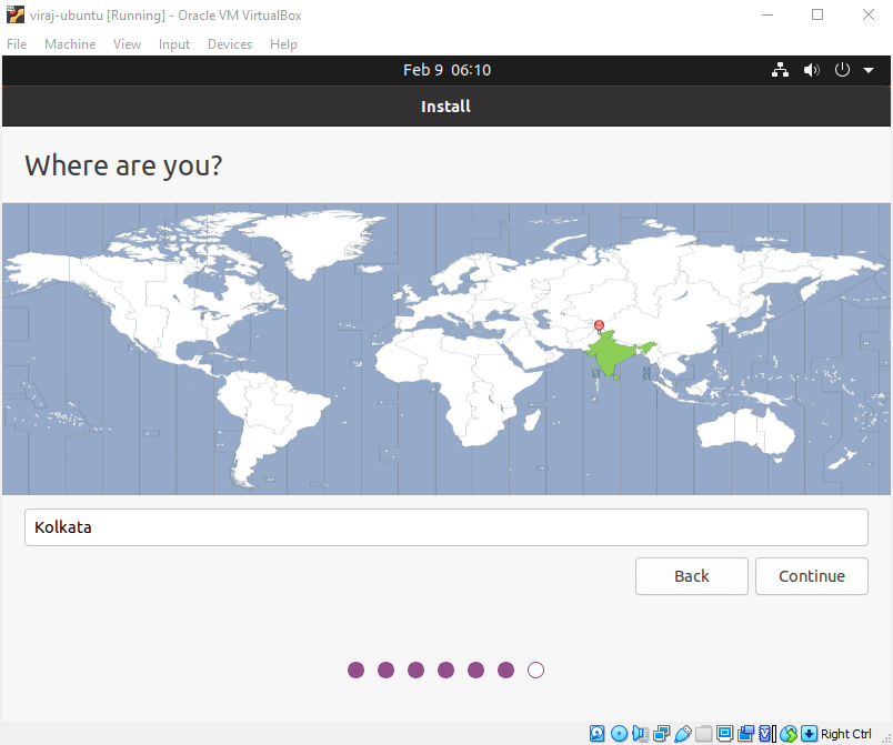 Step 17: Selecting the timezone