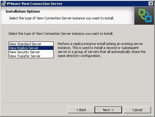 VMware Horizon View - Select Server Type