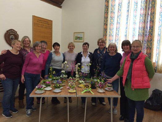 Ladies proudly showing their Time for Tea floral designs
