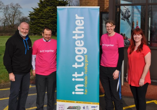 Organisers of the event (from left to right) Steve Elliott, Total Buzz Events; Jake Hannis, South Somerset District Council's Senior Sport & Healthy Lifestyles Officer; Debbie Hill, Women and Girls Development Officer at SSDC; Lucy Ridout, Total Buzz Events.