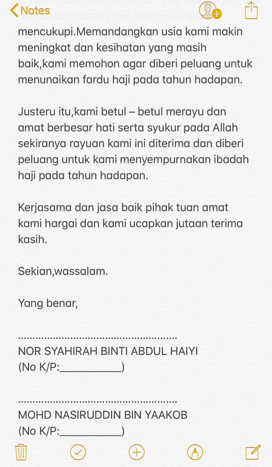 contoh surat rasmi permohonan haji grasmi
