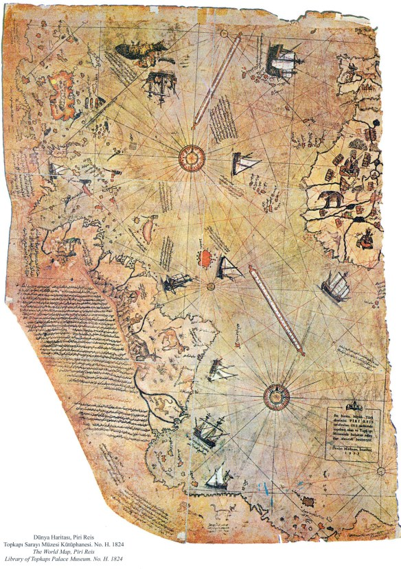 Piri Reis map extant western third of Ottoman world map Atlantic Ocean coast South America not Antarctica