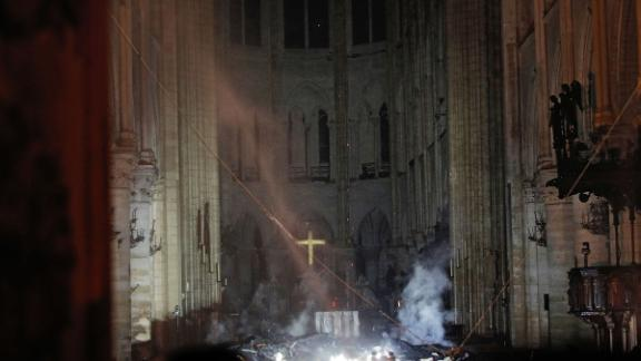 These remarkable photos and video show the scale of the damage inside the iconic 850-year-old Gothic cathedral in Paris, which was partially destroyed in a fire.