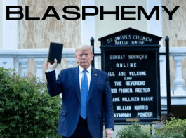 President Donald Trump Poses with a Bible in front of St John's Episcopal Church in Washington DC.