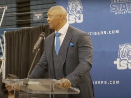Eddie George speaking at a Tennessee State University Press Conference introducing him as the new head coach for the school's football team. (Photo: tnstate.edu/youtube)
