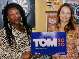 (l-r) Tequila Johnson, Tennessee State Director for the Steyer campaign and Lauren Windsor, Deputy Communications Director for the Steyer campaign. (Photo by: Jason Luntz)