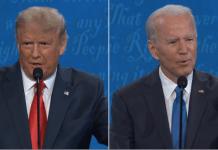 (l-r) President Donald Trump, former Vice President Joe Biden