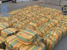 These bales of cocaine were seized from a sailboat in the Atlantic Ocean off the Iberian Peninsula. (Spanish and Portuguese Police/Zenger)