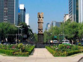 The plans for the sculpture of 'La joven de Amajac' that will replace a Christopher Columbus sculpture on Paseo de la Reforma avenue in Mexico City, Mexico. (Mexico City Secretariat of Culture/Zenger)