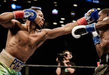 Shawn Porter (left) bounced back from a loss with a three-knockdown, ninth-round TKO of Andre Berto in a battle of two-time welterweight champions in 2017. (Amanda Westcott/SHOWTIME)