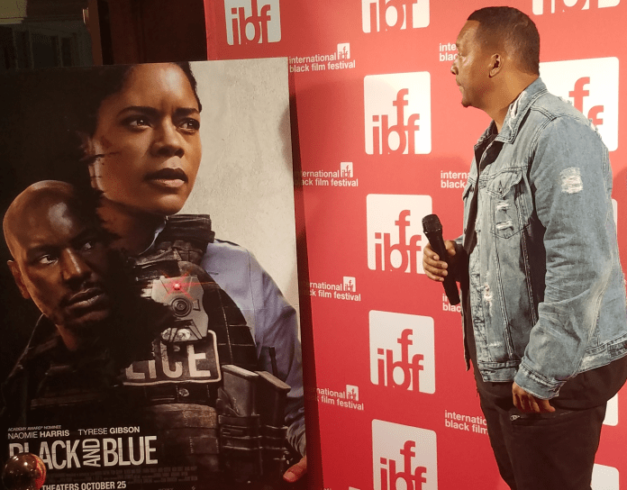Black and Blue director Deon Taylor on the red carpet. (Photo by: Mike Patton)