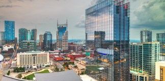 Nashville, Tennessee, USA downtown city skyline rooftop view at dusk. (Photo by: Sean Pavone | elements.envato.com)