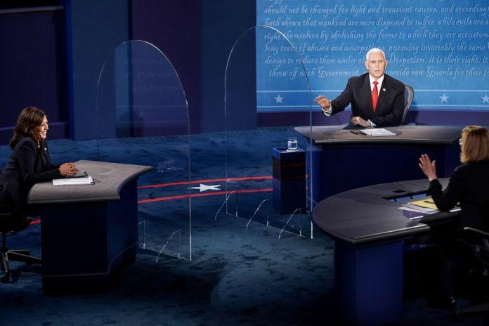 Senator Kamala Harris (D) debating against Vice President Mike Pence (R) in Salt Lake City, UT.