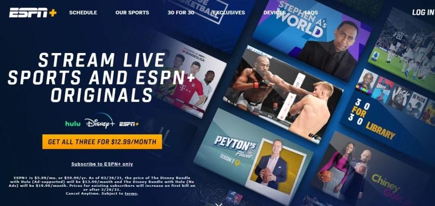 ESPN+ website