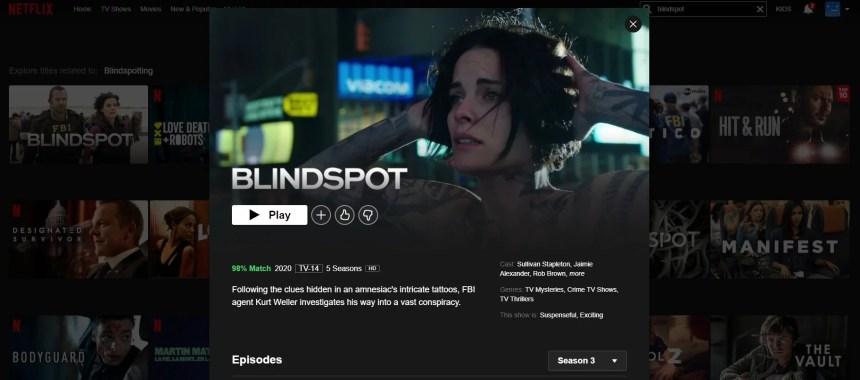 Blindspot on Netflix