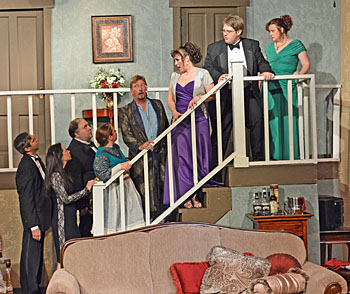 The 'Rumors' cast on the staircase of the Van Wert Civic Theatre set. (photo submitted)