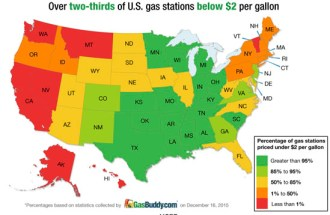 Us Gas Price Ave Falls Below 2 A Gallon The Vw Independent - Gas-prices-us-map