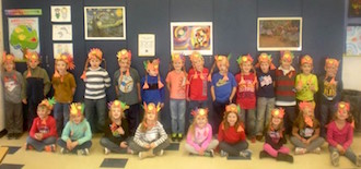 The students in Lianne Pohlman's class made turkey hats for Thanksgiving. (Photo submitted.)