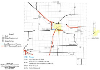 This map shows highway construction projects planned for Van Wert County this summer. (ODOT map)