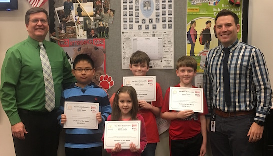 Congratulations to the Van Wert Elementary School students chosen for the Word of the Week award! Pictured with Mr. Gehres, Principal, and Mr. Krogman, Assistant Principal, are students recognized for being considerate of others and their feelings. Award winners this week are Ethan, grade 1; Shyanne, grade 2; WeiXin, grade 3; Robert, grade 4; and Devin, grade 5 (not pictured). Each child received a free Mighty Kids Meal from our local McDonalds, a free taco from our local Taco Bell, and a certificate from WERT Radio. (Photo submitted.)