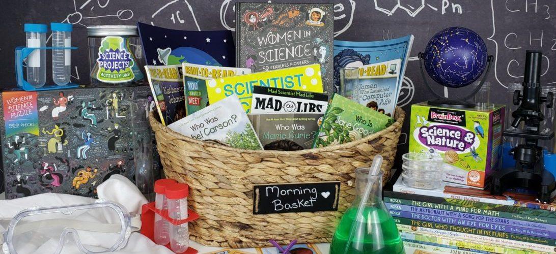 Women in science themed morning basket