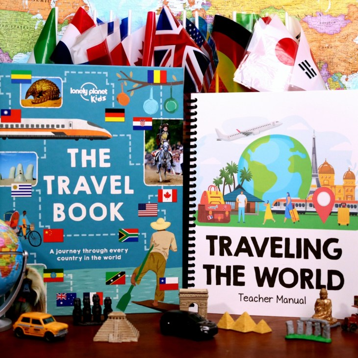 Get ready to go on an adventure! With this homeschool unit study, your whole family can travel the world in your living room. This fun interest-led learning journey covers 30 counties in a way that's fun and interesting for kids of all ages.