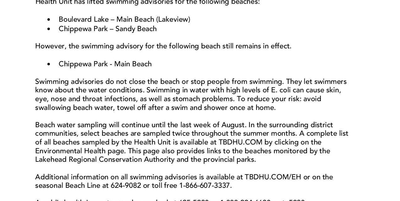 Beach Advisory Update