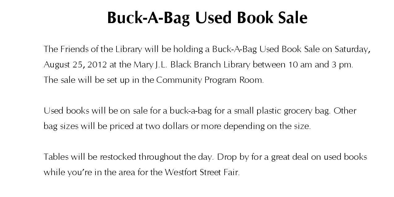 Buck-A-Bag Used Book Sale