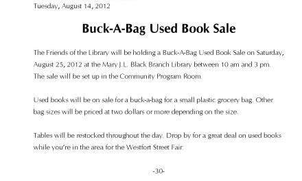 Buck-A-Bag Used Book Sale