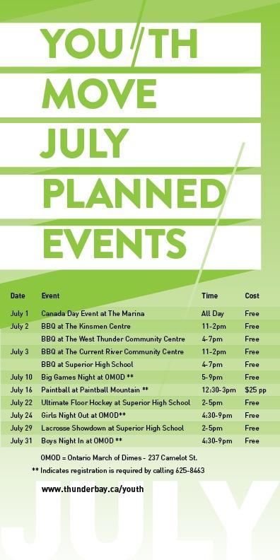 Youth - July Calendar