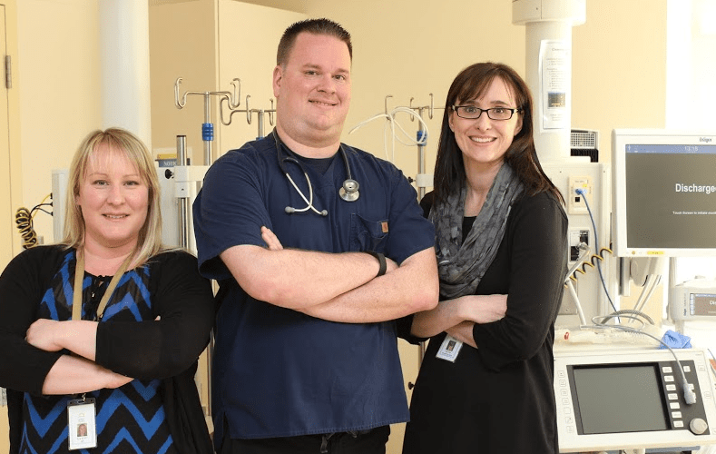 Three of the more than 1,300 nurses at Thunder Bay Regional Health Sciences Centre: (left to right) Erin Bergen, Michael Hogard, and Edie Hart.