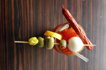 The MacGregor specialty Caesar is fully loaded with a pickled egg, a pepperette, and asparagus.