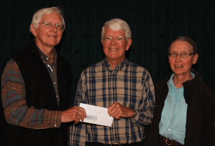 Jim Symington makes  donation to the TBFN for the Granite Point Nature Reserve