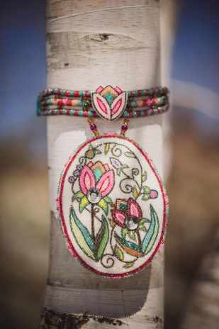 Always With Me, Celeste Pedri-Spade, 2014, beaded pow wow choker with photograph findings. Photo by Rebecca Bose