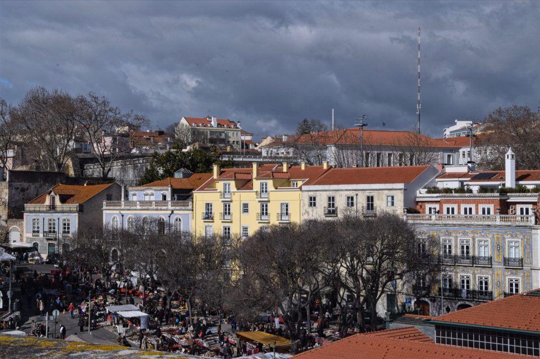 View of theFeira da Ladra flea market, from theChurch of St Engrácia (National Pantheon), Lisbon, Portugal