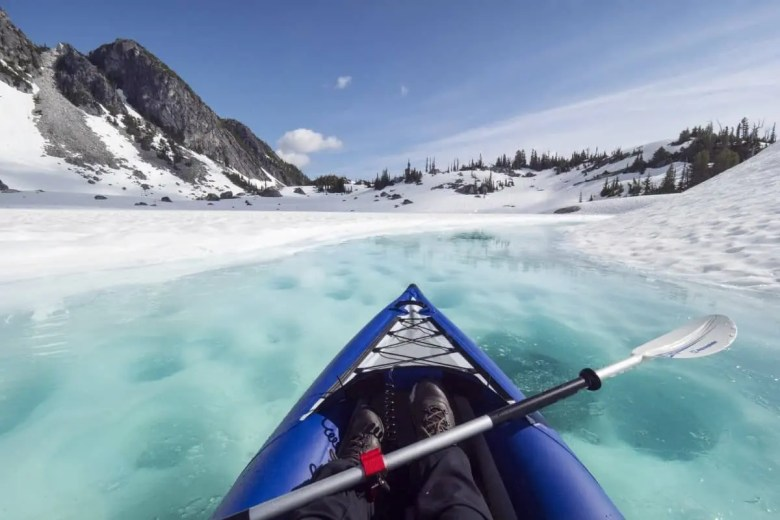 Kayaking in Canada on Glacial Lakes meltwater, British Columbia